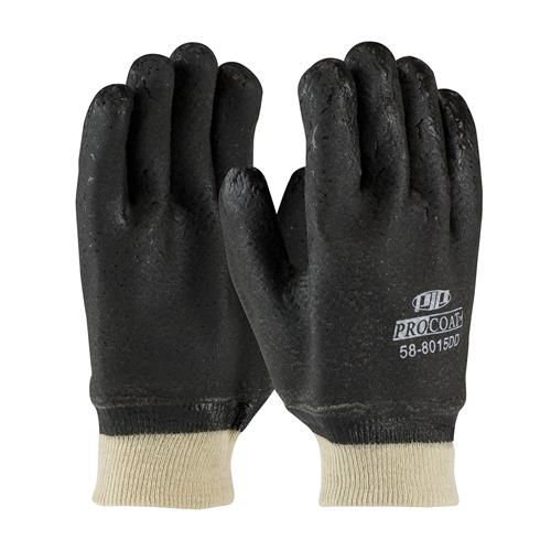 PIP 58-8015DD ProCoat PVC Dipped Glove with Jersey Liner and Rough Acid Finish - Knitwrist - Box/12 Pairs