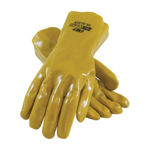 "PIP 58-8030Y Procoat Pvc Gloves, Smooth Finish, Yellow, 12"" Length, Jersey Lined - Box/12 Pairs"