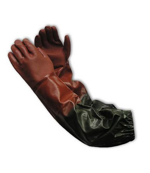 PIP  Procoat Pvc Gloves, Sandy Finish, Glove Sleeve Combo, Red Glove, #58-8431R