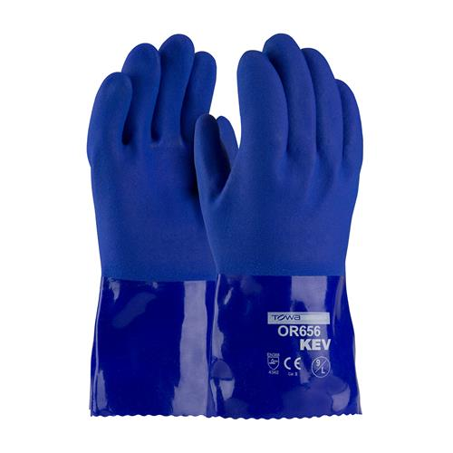 "PIP 58-8658K Cut & Oil Resistant PVC Gloves Sandy Coated, 12"" Length, Cold Resistant - Box/12 Pairs"