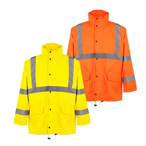 GSS Safety 6001 Class 3 Rain Jacket with 2 Patch Pockets - Lime