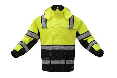 GSS Safety 6501 ONYX Class 3 Rip stop Rain Coat with Teflon Coating-Lime
