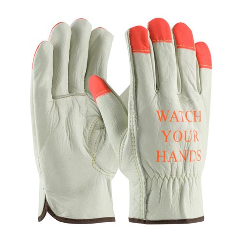 PIP 68-165HV Superior Grade Top Grain Cowhide Leather Driver's Glove with Hi-Vis Fingertips - Keystone Thumb - Box/12 Pairs