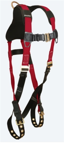 FallTech 7008B Tradesman® Plus 1D Standard Non-belted Full Body Harness, Tongue Buckle Legs, Quick Connect Chest, Sizes: XSmall - Big Boys 3XL, 425 lb Max