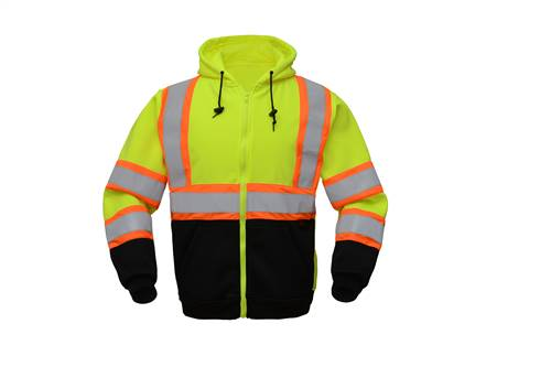 GSS Safety 7009 Class 3 Two Tone Zipper Front Sweatshirt-Lime