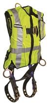FallTech 7018 Vest Harness Hi Vis Lime Class 2 with Side-D Rings and Leg Grommets, 425 lb Max
