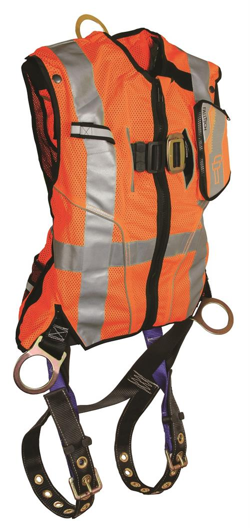 FallTech 7018 Vest Harness Hi Vis Orange Class 2 with Side-D Rings and Leg Grommets
