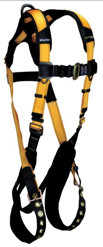 FallTech 7021 Journeyman FLEX Steel Harness, Back D-Ring, Tongue Buckle Legs, Quick Connect Visi-Lock Chest, Sizes: XS - Big Boys 4XL, 425 lb Max