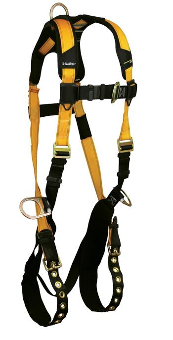 FallTech 7023 Journeyman FLEX Steel Harness, Back & Side D-Rings, Tongue Buckle Legs, Quick Connect Visi-Lock Chest, Sizes: Small - Big Boys 4XL, 425 lb Max