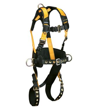 "FallTech 7035 Journeyman FLEX Steel Belted Construction Harness, Back & Side D-Rings, Tongue Buckle Legs, Mating Buckle Chest, 6"" Waist Pad, Sizes: XS - Big Boys 4XL"