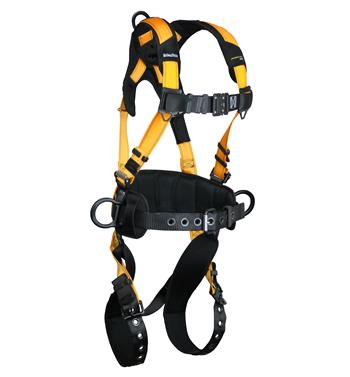"FallTech 7035B Journeyman FLEX Aluminum Belted Construction Harness, Back & Side D-Rings, Tongue Buckle Legs, Quick Connect Visi-Lock Chest, 6"" Waist Pad, Sizes: Small - Big Boys 3XL, 425 lb Max"
