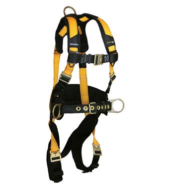 "FallTech 7035QC Journeyman FLEX Steel Belted Construction Harness, Back & Side D-Rings, Quick Connect Chest & Legs, 6"" Waist Pad, Sizes: Small - Big Boys 4XL, 425 lb Max"