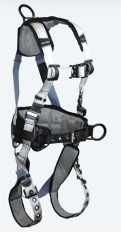 FallTech 7088BFD  FlowTech LTE 4D Belted Construction Full Body Harness, Quick Connect Chest & Leg Grommet, Side & Front D-Rings