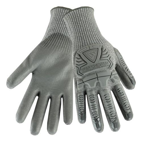 West Chester 710HGUB R2 Silver Fox Cut Resistant Gloves, 10 Gauge HPPE Shell, Gray PU Palm Coated, TPR Protection, Cut Level A6, 3 Pairs