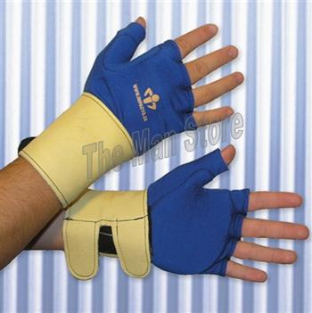 "IMPACTO 714-20 Fingerless Anti-Impact Glove Liner with Detachable Wrist Support, Polycotton, Grain Leather Wrist, Viscolasâ""¢ VEP Padded Palm/Web"
