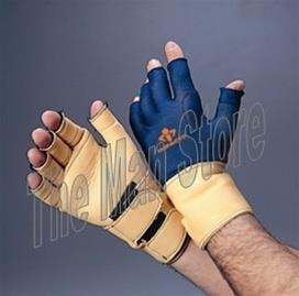 "IMPACTO 725-20 Anti-Impact Glove, 3/4 Finger with Detachable Wrist Support, Nylon Lycra & Grain Leather with Viscolasâ""¢ VEP Padded Palm to Wrist"