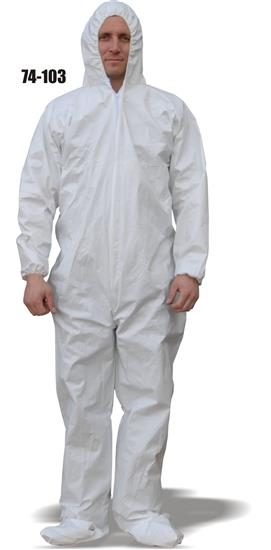 Majestic 74-103, ComforTEX Micro-porous Coverall, Elastic Wrist & Ankles, Attached Hood & Boots, Breathable, ANSI/ISEA 101-1996(R2008), Case/25