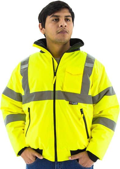 Majestic 75-1300 High Visibility Class 3 Waterproof Bomber Jacket, Lime Yellow, Fixed Quilted Liner, Removable Hood