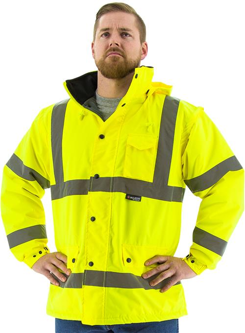 Majestic 75-1303 Class 3 High Visibility Parka, Polar Quilt Lined, Waterproof, Hi Vis Yellow