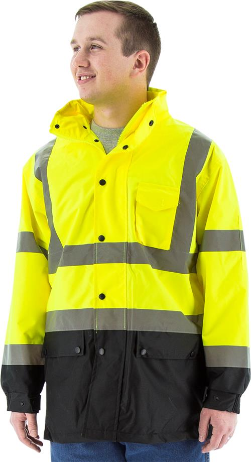 Majestic 75-1305 High Visibility Class 3 Class 3 Rain Jacket with Oxford Fabric Waterproof Rain Parka