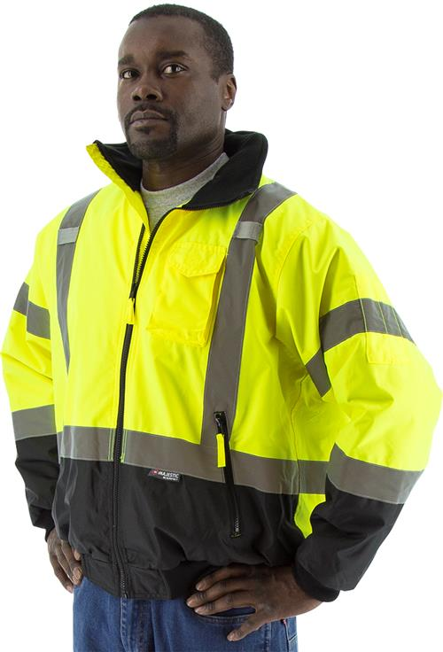 Majestic 75-1311 High Visibility Yellow Class 3 Waterproof Bomber Jacket with Removable Liner & Black Bottom