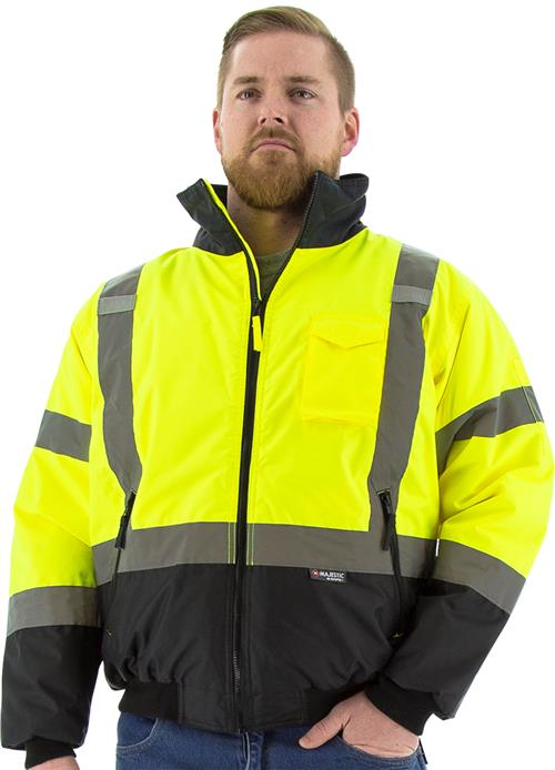 Majestic 75-1313 Hi Vis Yellow Class 3 Waterproof Bomber Jacket with Fixed Quilted Liner & Black Bottom