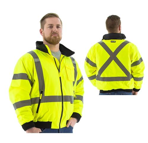 Majestic 75-1331 High Visibility Yellow Fleece Lined Waterproof 2 in 1 Bomber Jacket with X Striping, ANSI Class 3, CSA Z79
