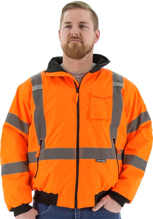 Majestic 75-1332 High Vis Orange Removable Fleece Lined Waterproof Bomber Jacket with X Striping, ANSI Class 3, CSA Z96