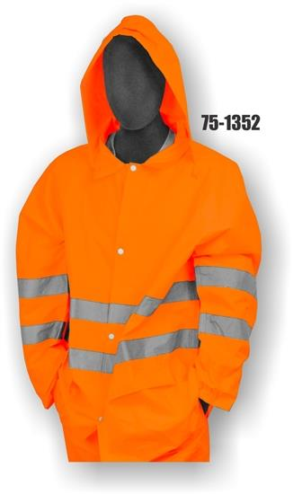 Majestic 75-1352 High Visibility ANSI Class 3 Rain Jacket,  100% Polyester, Polyurethane Coated Oxford Fabric Waterproof Unlined, Hi Vis Orange