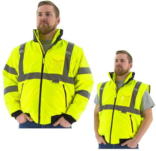 Majestic 75-1381 Transformer Hi Vis Fleece Lined Waterproof Bomber Jacket