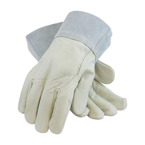 PIP 75-2022 Top Grain Cowhide Leather Mig Tig Welder's Glove with Kevlar Stitching - Split Leather Band Top - Box/12 Pairs
