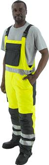Majestic 75-2357 High Vis Yellow Class E Insulated Bib Waterproof with Side Zippers, Reinforced and Pockets