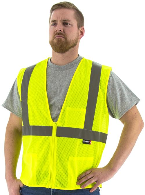 Majestic 75-3201 Hi Vis Yellow Class 2 Mesh Zipper Safety Vest