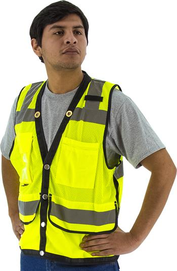 Majestic 75-3207 Heavy Duty Hi Vis Mesh Class 2 Safety Vest, Yellow