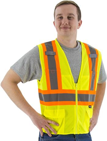 Majestic Hi Vis Yellow 75-3209 Zipper Class 2 DOT 6 Pocket Safety Vest