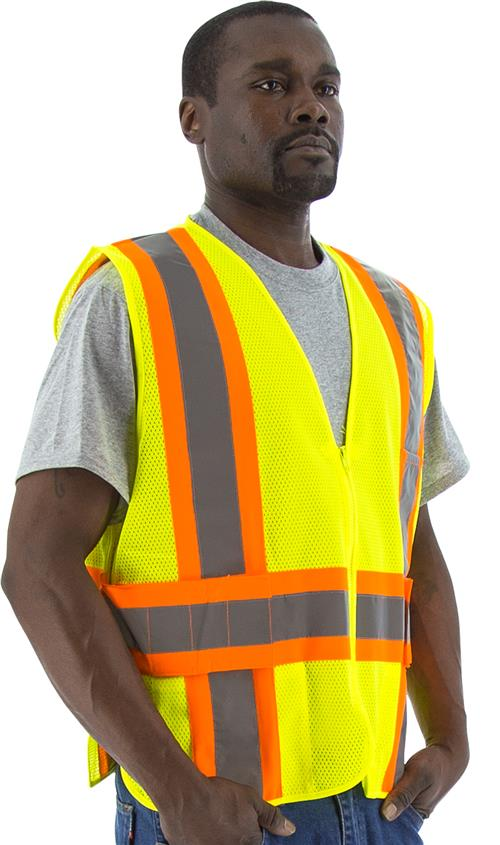 Majestic 75-3215 Adjustable Hi Vis Yellow Zipper Class 2 DOT 3 Pocket Safety Vest