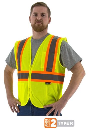 Majestic 75-3217 Hi Vis Yellow Class 2 Mesh Safety Vest with Zipper, DOT Striping