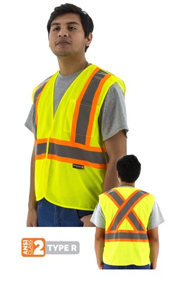 Majestic 75-3219 Hi Vis Class 2 Type R 5-Pt Breakaway Safety Vest with DOT Striping, X Pattern on Back