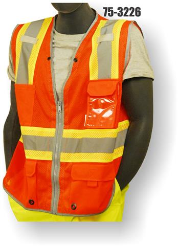 Majestic 75-3226 Hi Vis Orange Class 2 Premium Surveyor Safety Vest