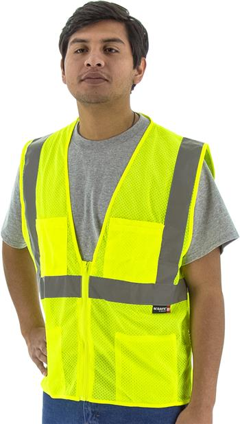 Majestic 75-3231 Hi Vis Yellow Class 2 Mesh Zipper Safety Vest with Extra Pockets