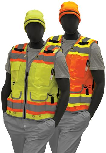 Majestic 75-3235 Hi Vis Yellow or 75-3236 Hi Vis Orange Class 2 Heavy Duty DOT Surveyor Vest