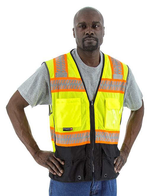 Majestic 75-3239 High Visibility Yellow Class 2 Mesh Vest with Black Bottom, DOT Reflective Chainsaw Striping