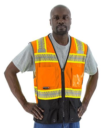 Majestic 75-3240 High Visibility Orange Class 2 Mesh Vest with Black Bottom, DOT Reflective Chainsaw Striping