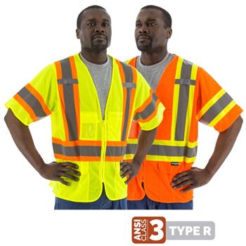 Majestic Hi Vis Class 3 Type R DOT Safety Vest with Side Zippers, 75-3301 Yellow or 75-3302