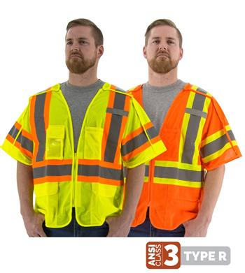 Majestic Hi Vis Class 3 Type R 5-Pt Breakaway DOT Safety Vest, 75-3305 Yellow or 75-3306 Orange