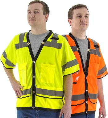 Majestic Hi Vis Class 3 Heavy Duty Safety Vest, Rear Document Pocket, 75-3307 Yellow or 75-3308 Orange