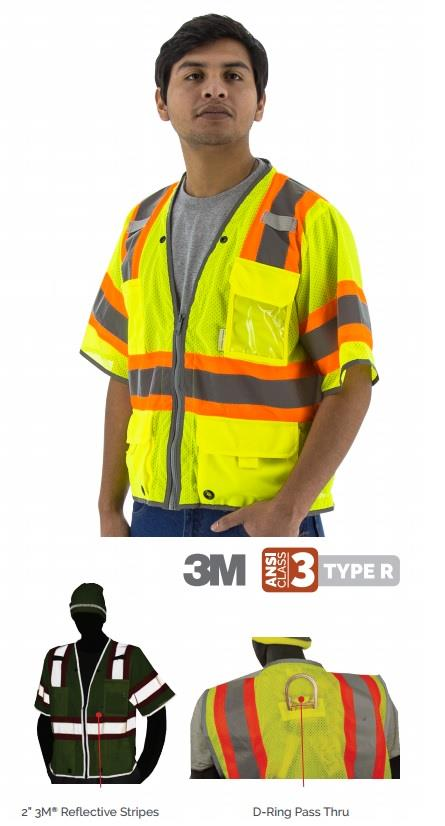 Majestic 75-3325 Hi Vis Class 3 Type R DOT Safety Vest, D-Ring Pass Thru, Hi Vis Yellow
