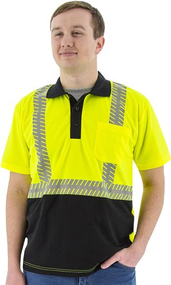 Majestic 75-5213 High Visibility Class 2 Short Sleeve Mesh Polo Shirt with Reflective Chainsaw Striping, Hi Vis Yellow, Black Bottom