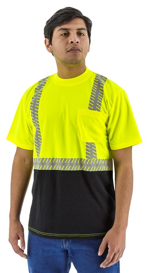 Majestic 75-5215 High Visibility Class 2 Short Sleeve Mesh T-Shirt with Reflective Chainsaw Striping, Hi Vis Yellow, Black Bottom