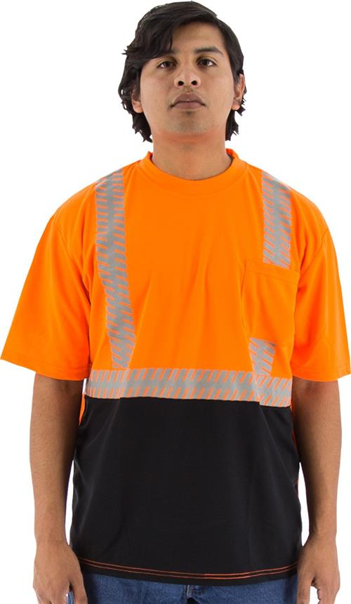 Majestic 75-5216 High Visibility Class 2 Short Sleeve Mesh T-Shirt with Reflective Chainsaw Striping, Hi Vis Orange, Black Bottom